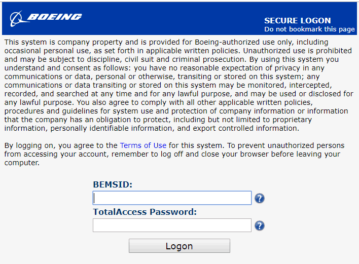 Boeing TotalAccess login page