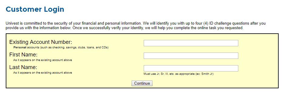 univest customer login