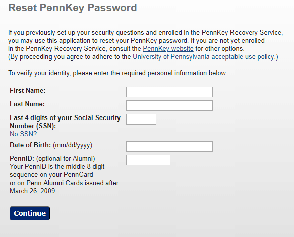 Forgot Penn Intouch Password