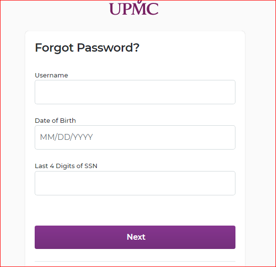 UPMC Healthtrak Online Login Portal forgot password 1