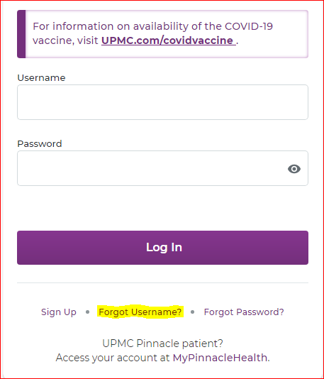 UPMC Healthtrak Online Login Portal forgot username