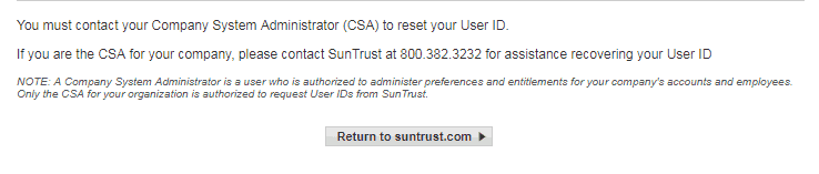 SunTrust Online Cash Manager Forgot Username and Password