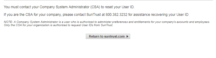 SunTrust Online Cash Manager Forgot Username