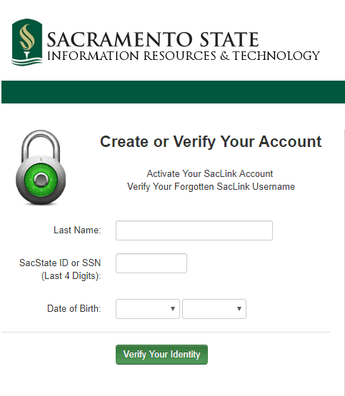 MySacState Sign up Page