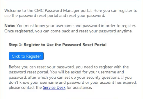 Register to password reset portal