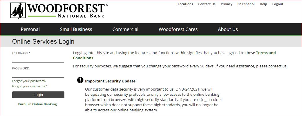 woodforest bank online banking enroll